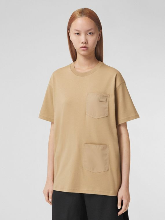Contrast Pocket Cotton Oversized T-shirt in Honey Melange