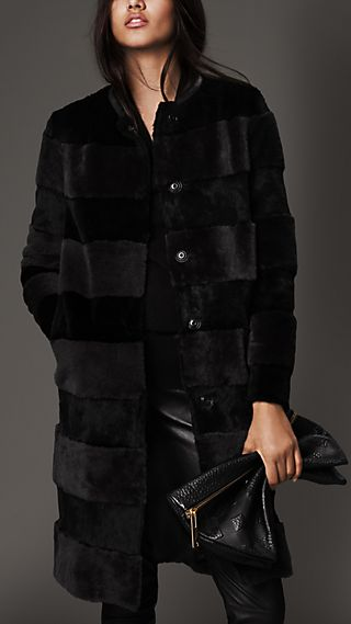 Shearling and Fur Striped Coat