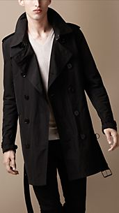 Mid-Length Technical Fabric Packaway Trench Coat