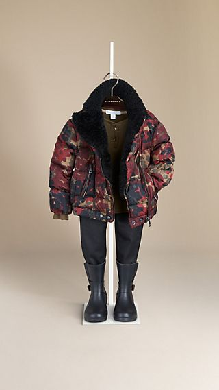 Abstract Camouflage Print Puffer Jacket with Shearling Collar