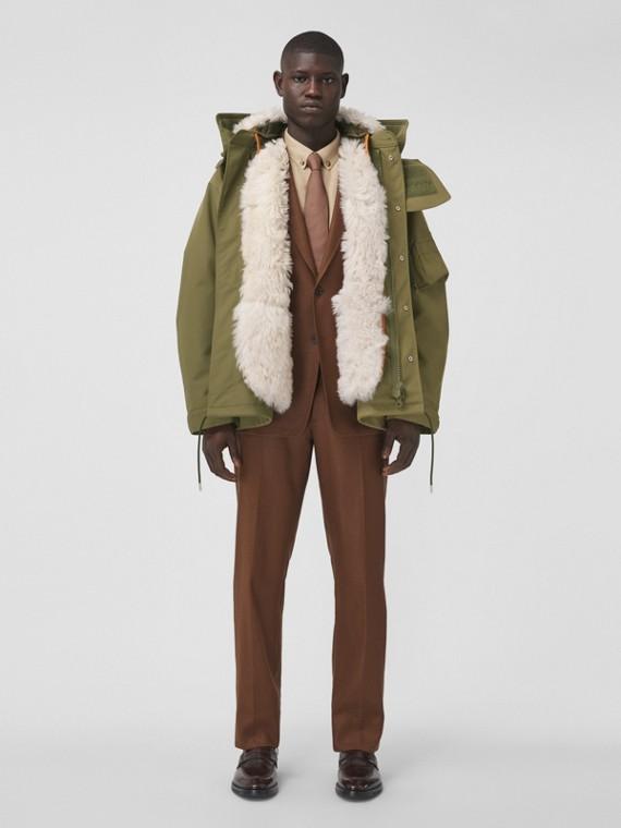 Wool Ramie Cropped Tailored Trousers in Dark Birch Brown