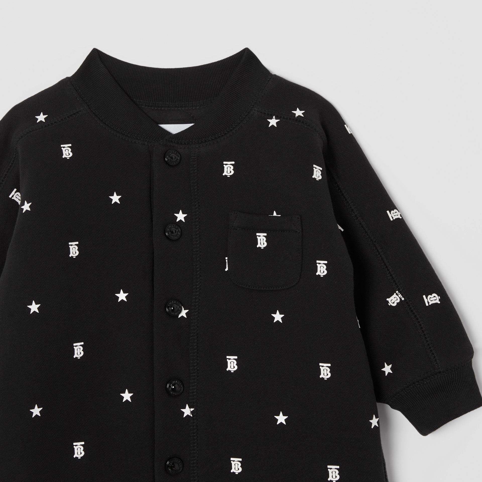 Star and Monogram Motif Cotton Jumpsuit in Black - Children | Burberry - gallery image 4