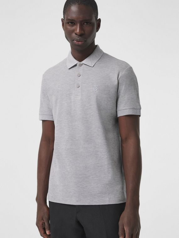 Monogram Motif Cotton Piqué Polo Shirt in Pale Grey Melange