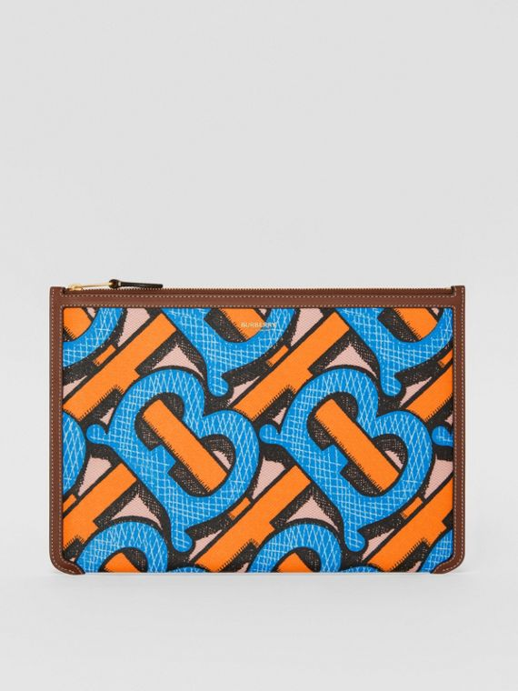 Monogram Print E-canvas and Leather Pouch in Bright Cobalt
