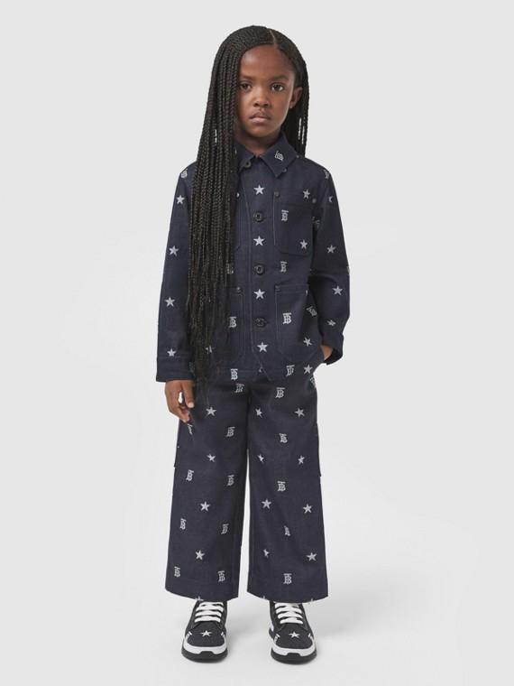 Pantalon en denim japonais à motifs étoilés et Monogram (Indigo)