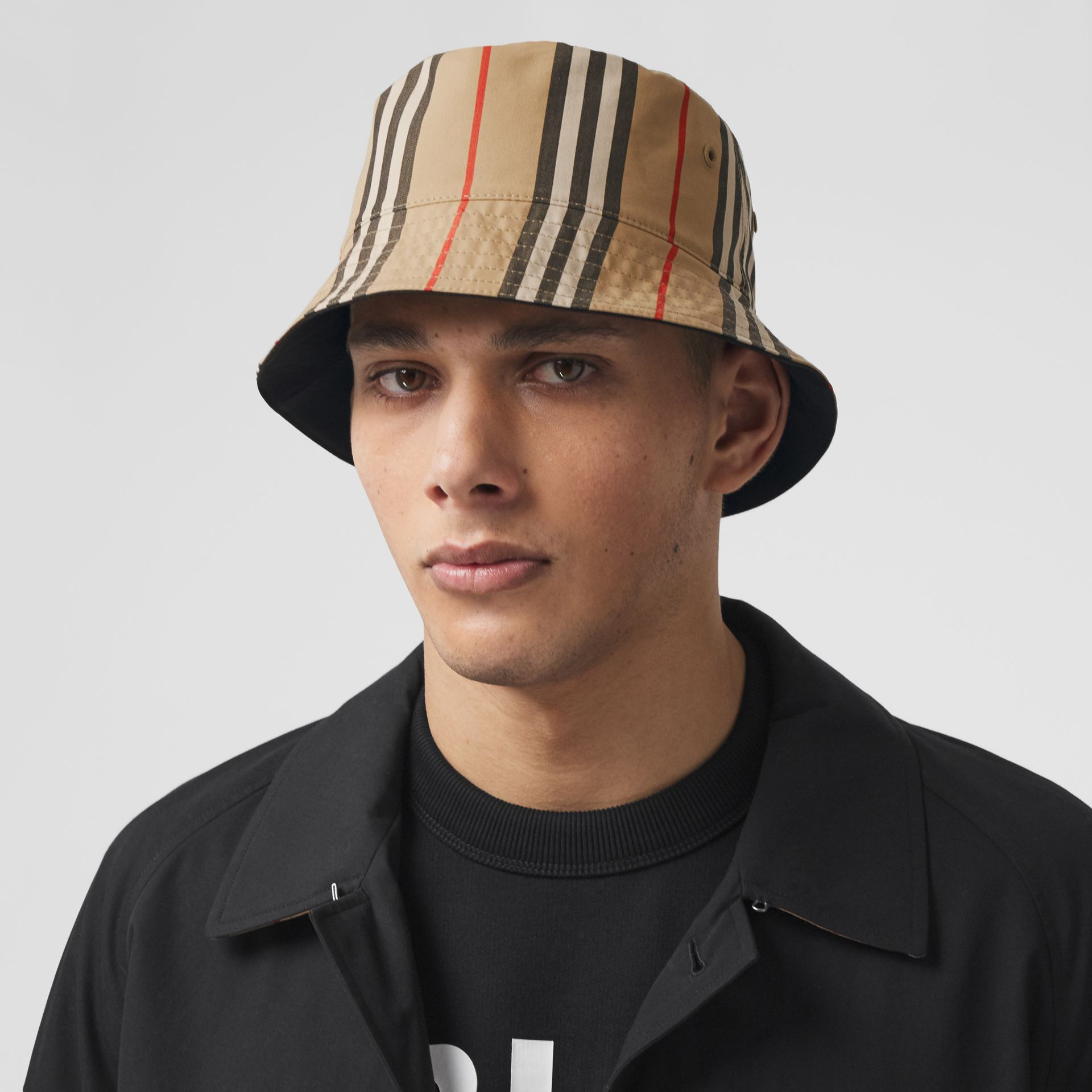 Reversible Icon Stripe Cotton Bucket Hat in Archive Beige | Burberry Australia - gallery image 9