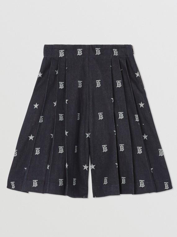 Jupe-culotte en denim japonais à motifs étoilés et Monogram (Indigo)
