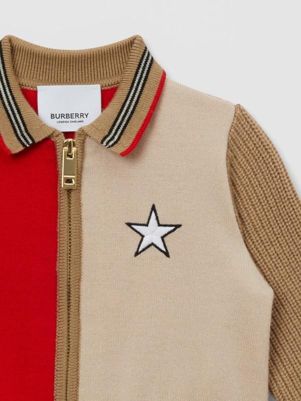 Veste en laine mélangée color-block avec motif étoilé - Enfant | Burberry - cell image 3