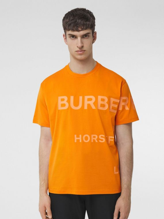 Horseferry Print Cotton Oversized T-shirt in Deep Orange