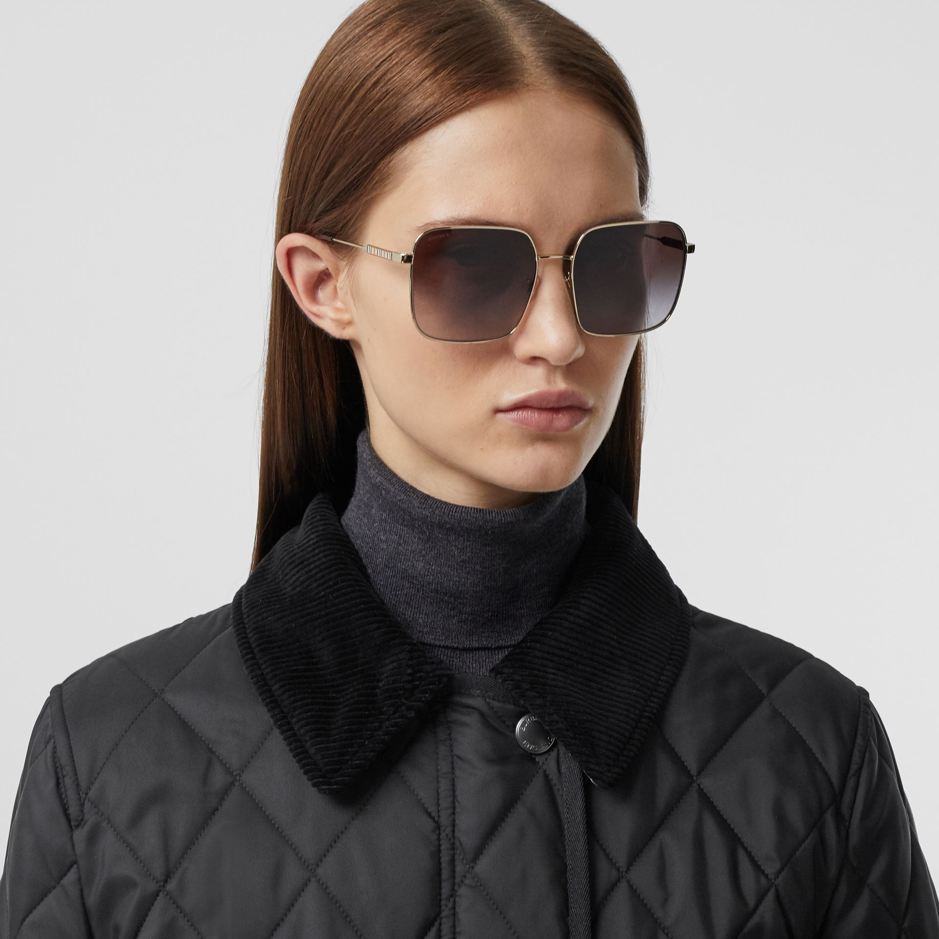 Detachable Fleece Collar Diamond Quilted Coat in Black - Women | Burberry - gallery image 1