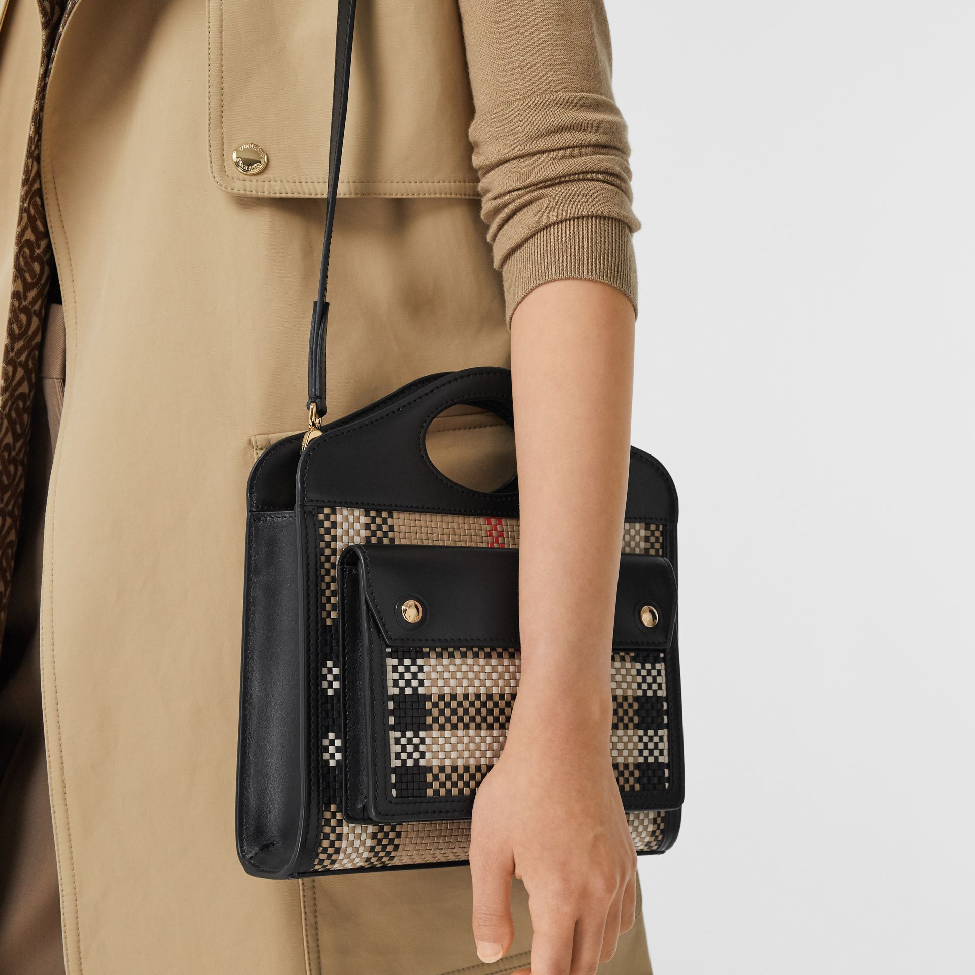 Mini Latticed Leather Pocket Bag in Archive Beige/black - Women | Burberry - gallery image 8