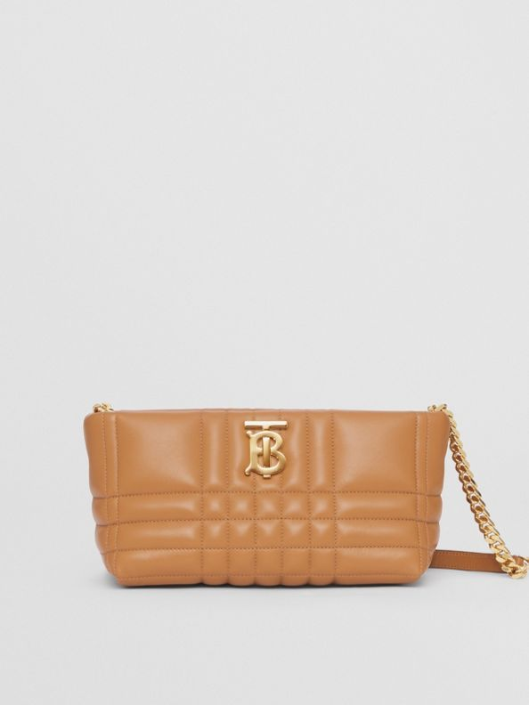 Small Quilted Lambskin Soft Lola Bag in Maple Brown