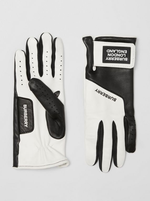 Logo Appliqué Two-tone Lambskin Gloves in Optic White/black