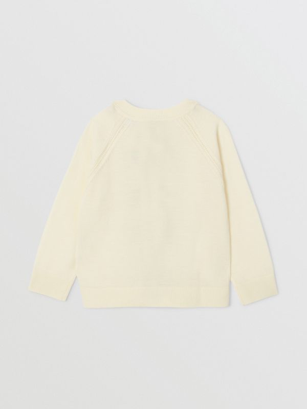 Icon Stripe Trim Merino Wool Two-piece Set in Ivory | Burberry United Kingdom - cell image 3