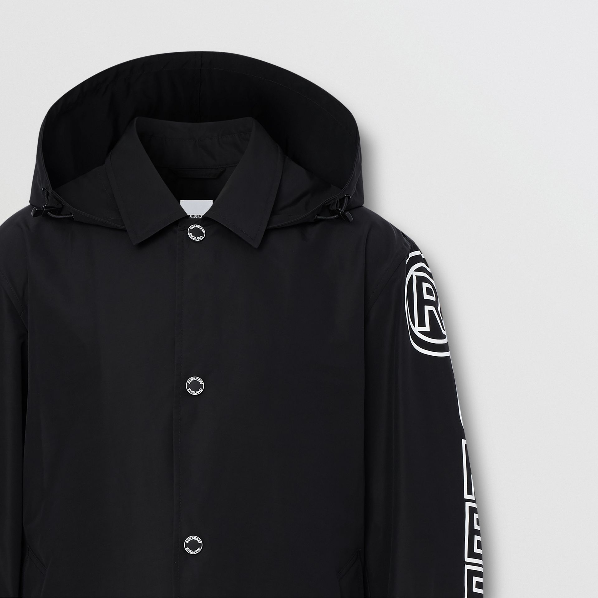 Detachable Hood Logo Print Technical Cotton Car Coat in Black - Men | Burberry United States - gallery image 2