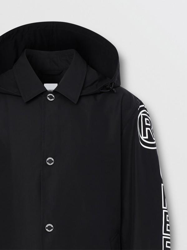 Detachable Hood Logo Print Technical Cotton Car Coat in Black - Men | Burberry United States - cell image 2