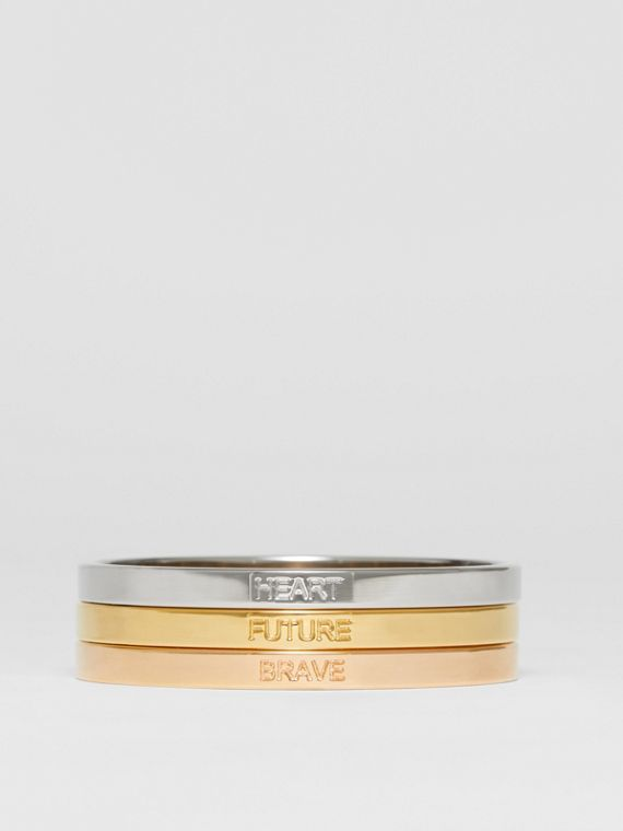 Rose Gold, Palladium and Gold-plated Bangles in Light Gold/rose Gold/palladium