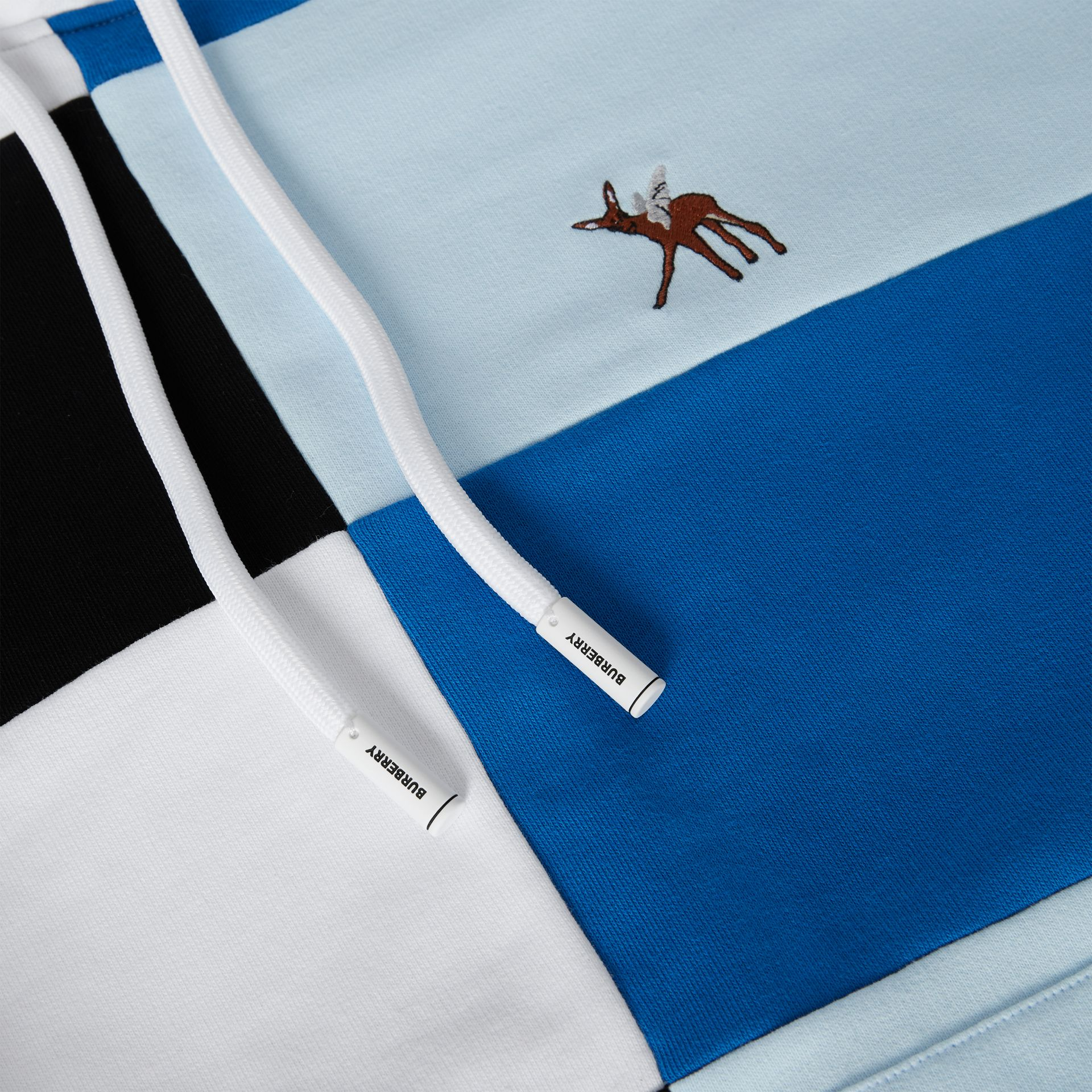 Deer Motif Colour Block Hoodie – Online Exclusive in Black/white - Men | Burberry - gallery image 8