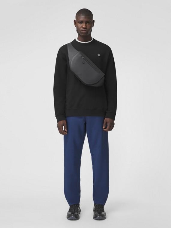Monogram Motif Appliqué Cotton Sweatshirt in Black