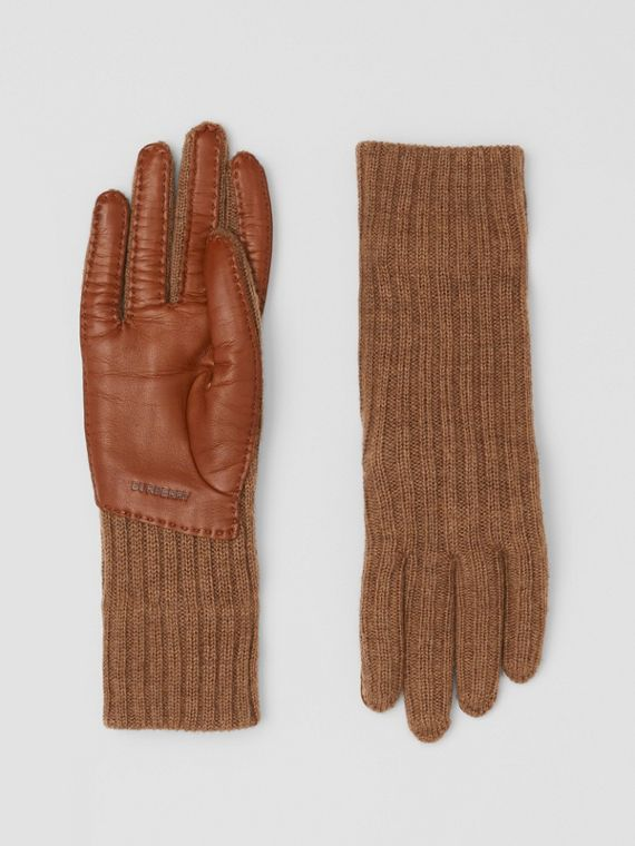 Cashmere-lined Merino Wool and Deerskin Gloves in Camel