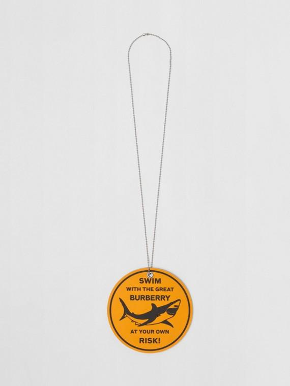 Rubber Shark Graphic Necklace in Palladium/orange