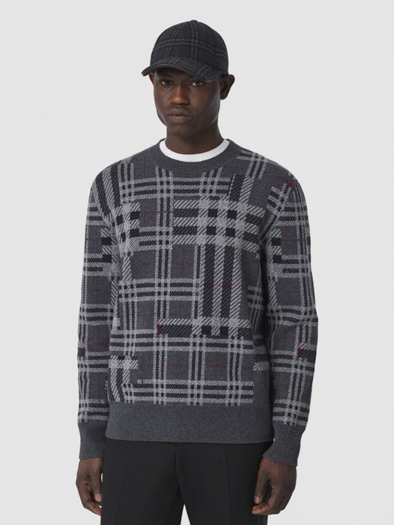 Contrast Check Cashmere Jacquard Sweater in Charcoal Melange