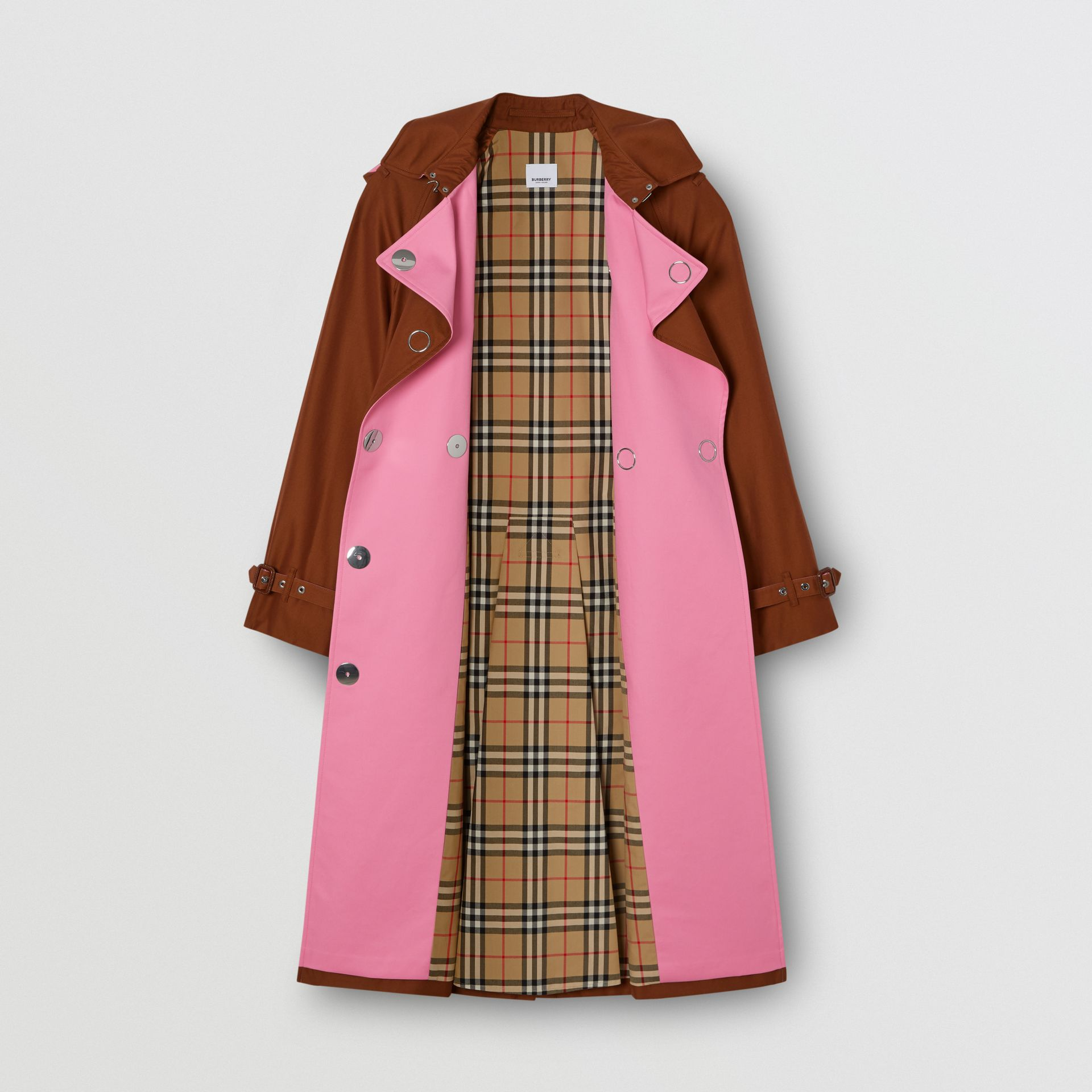 Colour Block Cotton Gabardine Trench Coat in Chestnut Brown - Women | Burberry - gallery image 7