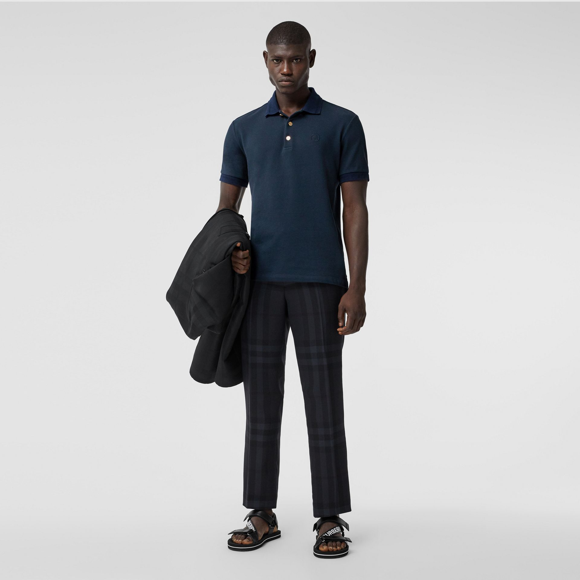 Button Detail Cotton Piqué Polo Shirt in Navy - Men | Burberry - gallery image 4