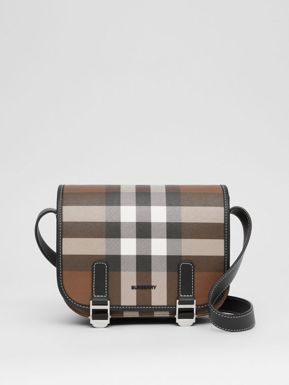 Check E-canvas Messenger Bag in Dark Birch Brown