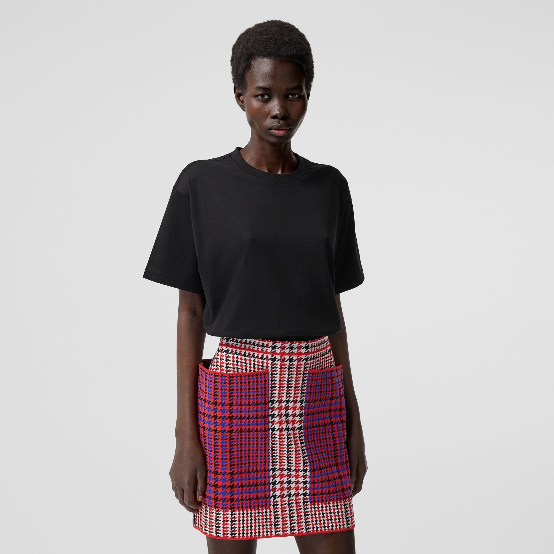 Coordinates Print Cotton Oversized T-shirt in Black - Women | Burberry Canada - gallery image 6