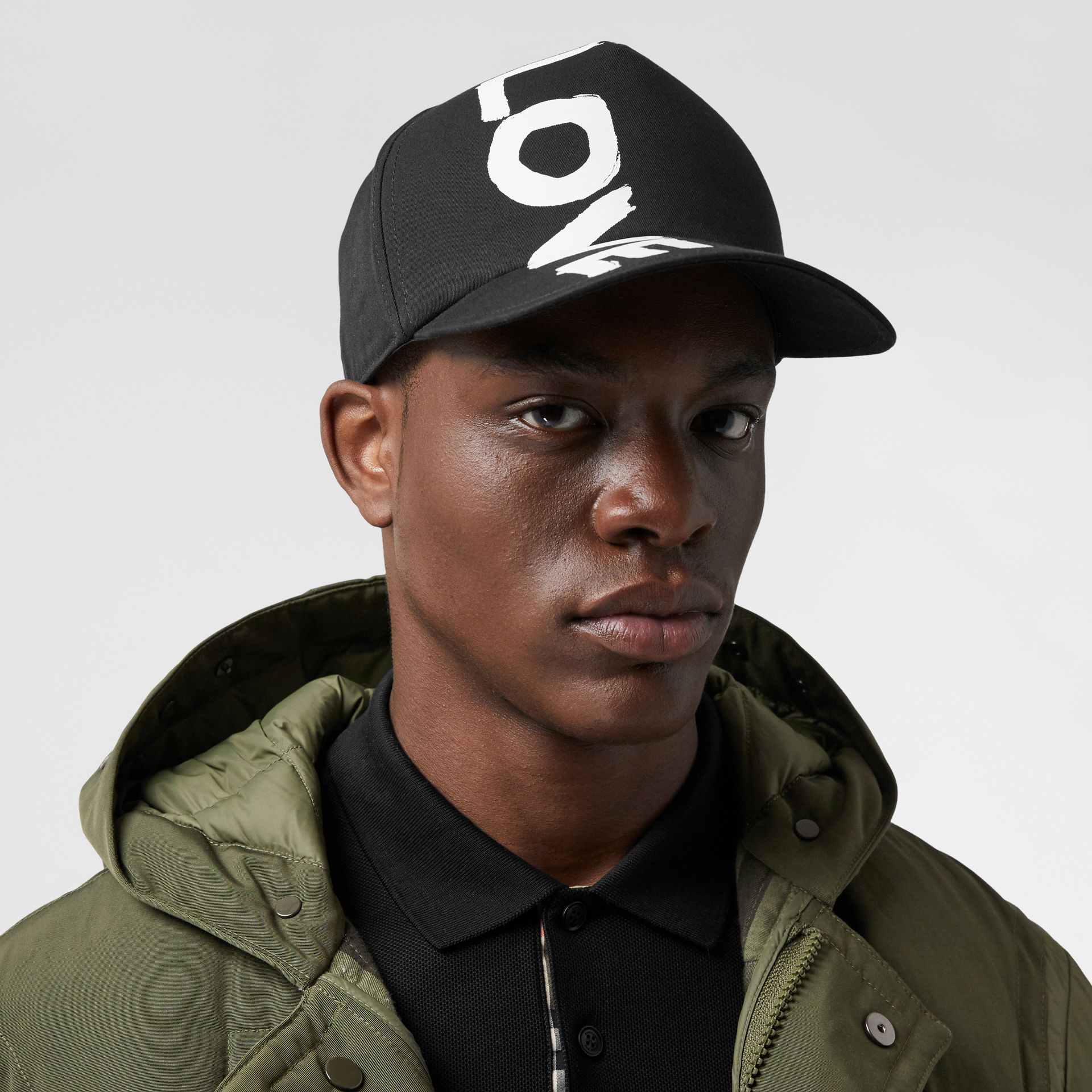 Love Print Cotton Gabardine Baseball Cap in Black | Burberry Canada - gallery image 3