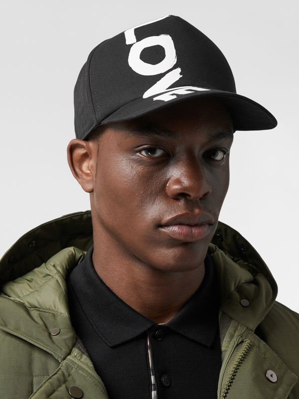 Love Print Cotton Gabardine Baseball Cap in Black | Burberry Canada - cell image 3