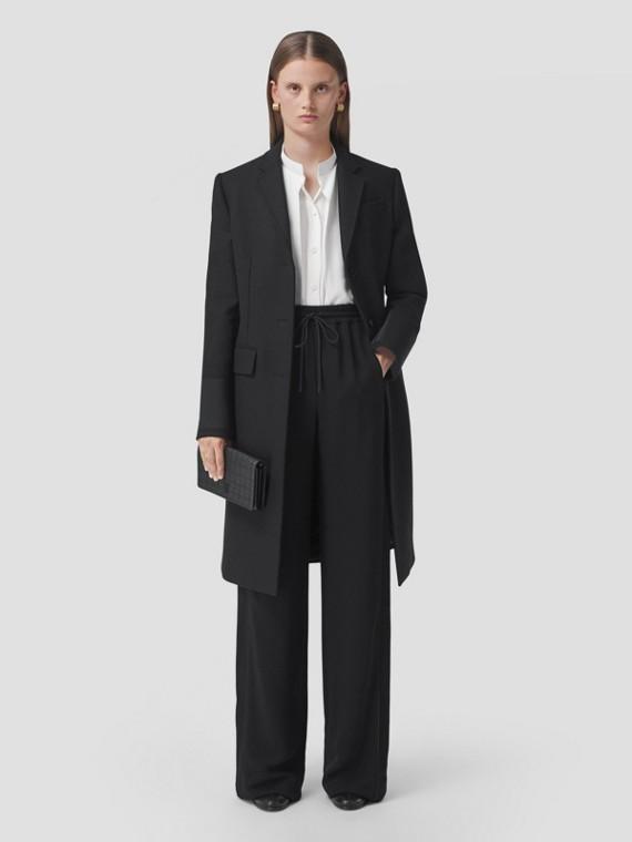 Calças estilo pantalona de viscose com corte personalizado (Preto)