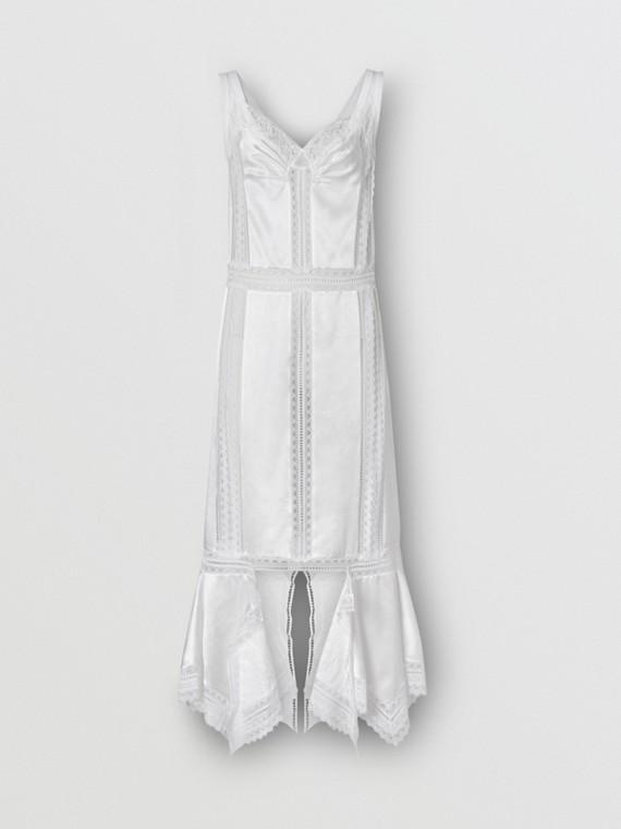 Платье из шелкового атласа и кружева (Оптический Белый)