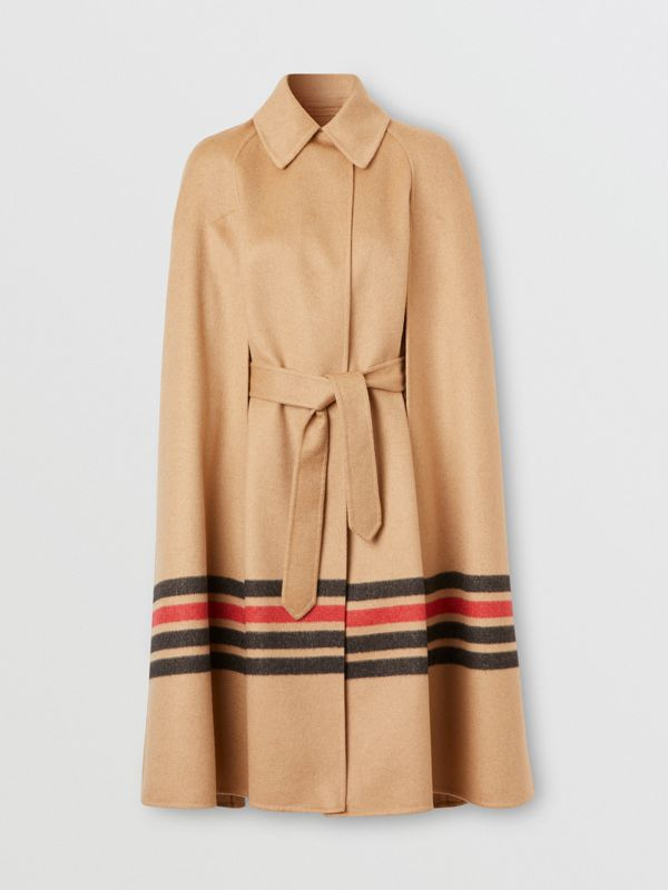 Stripe Detail Double-faced Cashmere Cape in Light Camel - Women | Burberry - cell image 3