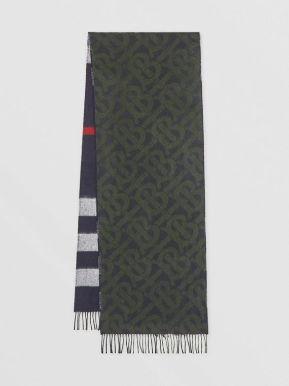 Reversible Check and Monogram Cashmere Scarf in Navy/caper Green