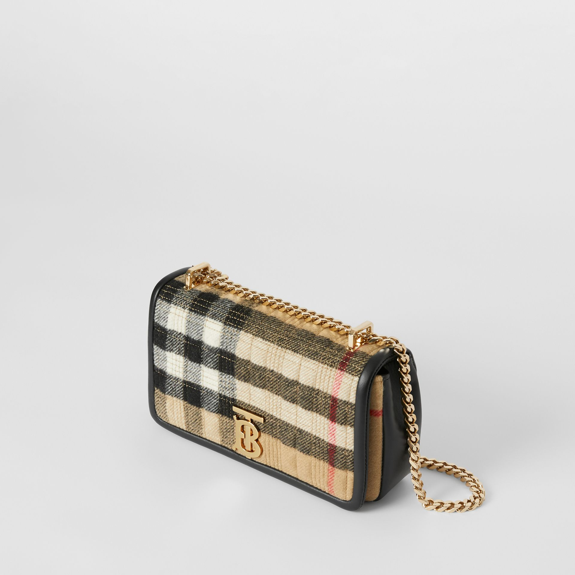 Small Check Cashmere Lola Bag in Archive Beige - Women | Burberry United States - gallery image 3