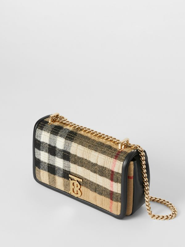 Small Check Cashmere Lola Bag in Archive Beige - Women | Burberry United States - cell image 3