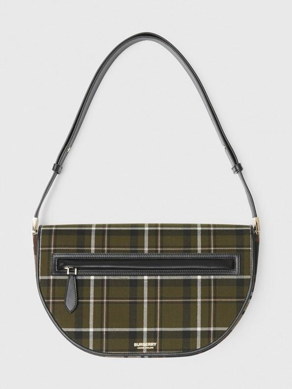 Medium Tartan Wool and Leather Olympia Bag in Dark Green