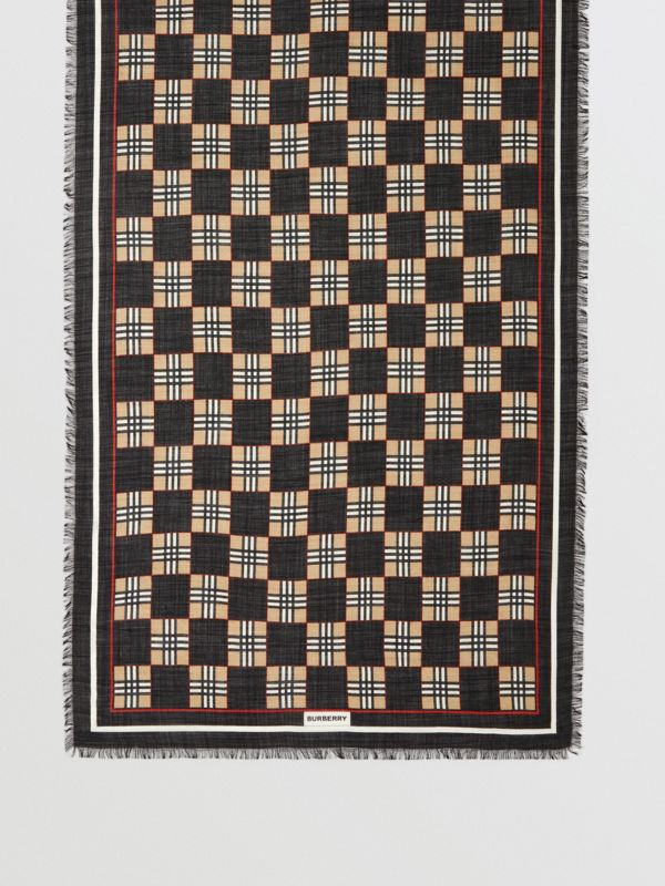 Chequer Print Wool Silk Scarf in Black | Burberry United Kingdom - cell image 2
