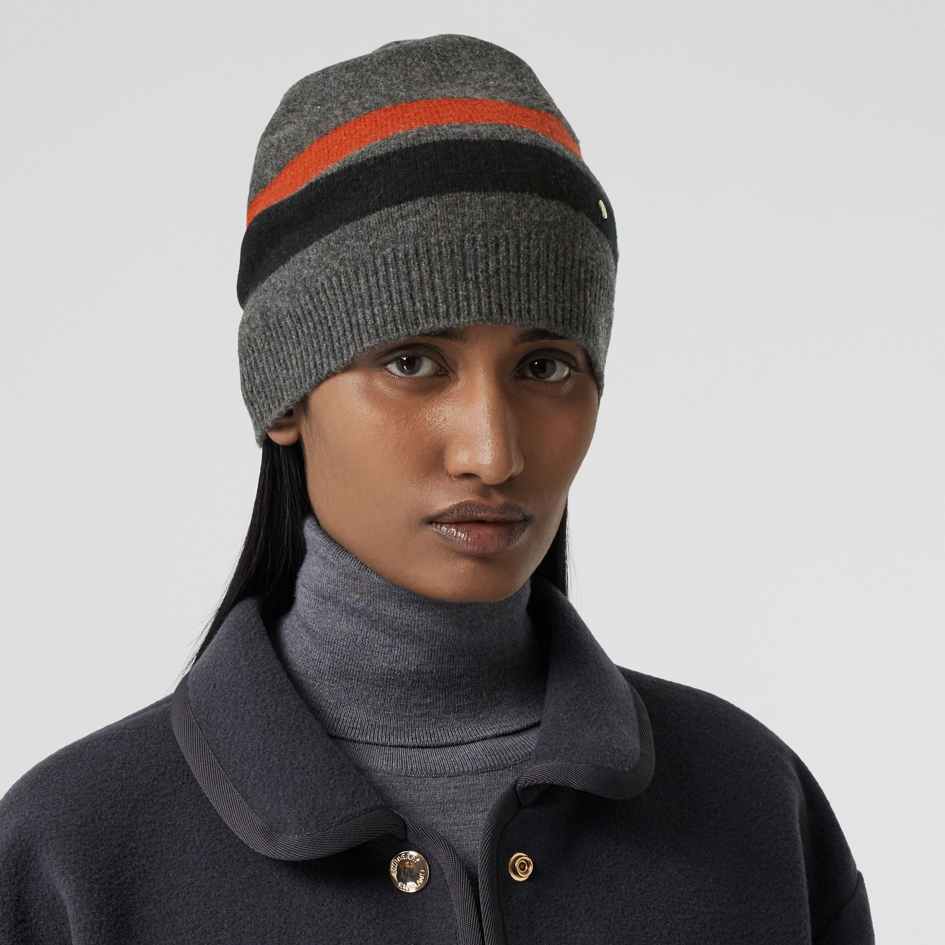 Monogram Motif Merino Wool Cashmere Beanie in Dark Grey | Burberry - gallery image 2