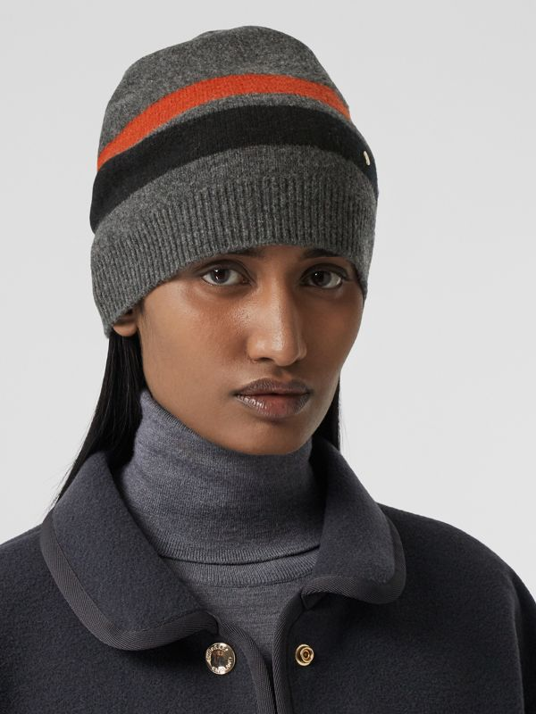 Monogram Motif Merino Wool Cashmere Beanie in Dark Grey | Burberry - cell image 2