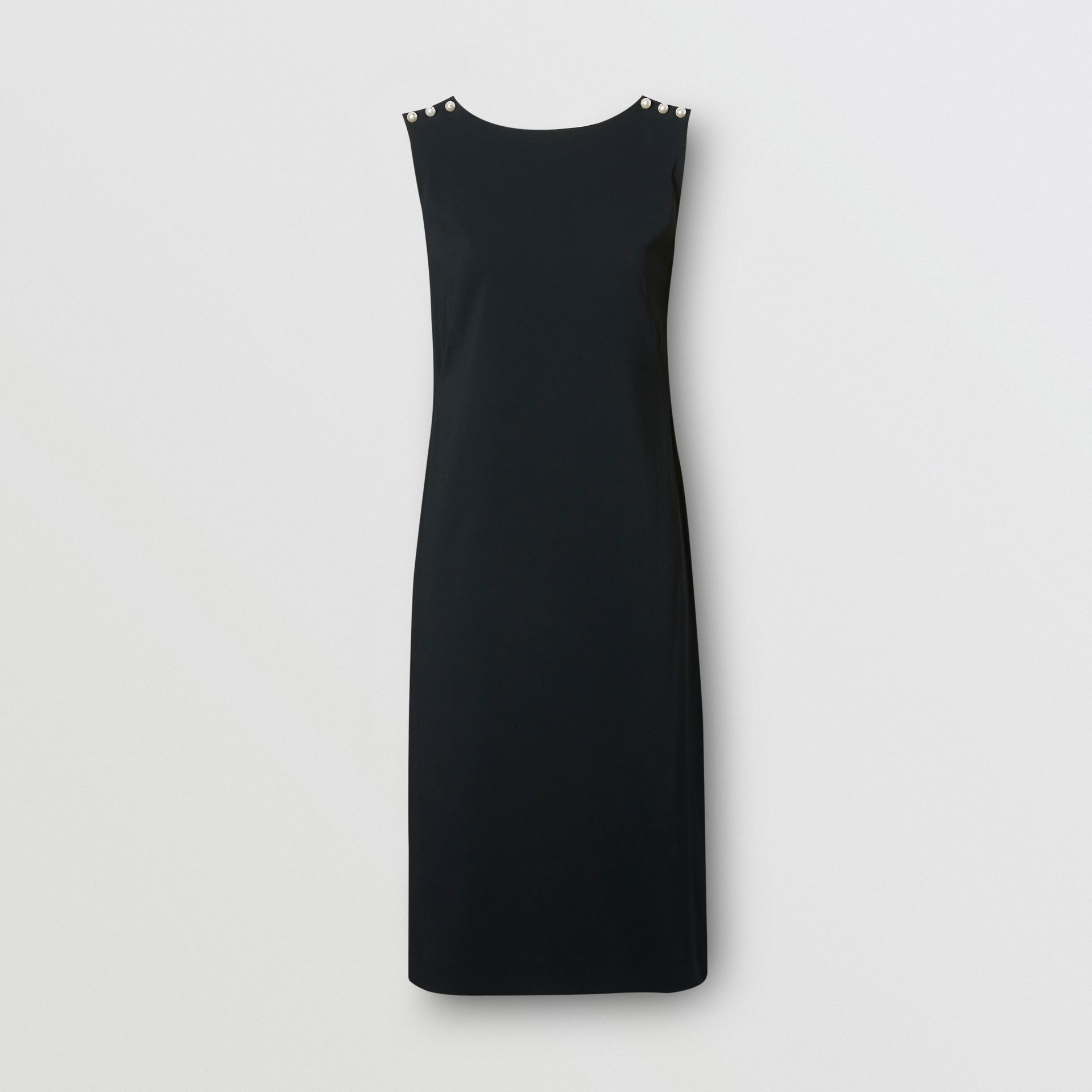 Glass Pearl Detail Satin Crepe Shift Dress in Black - Women | Burberry - gallery image 3