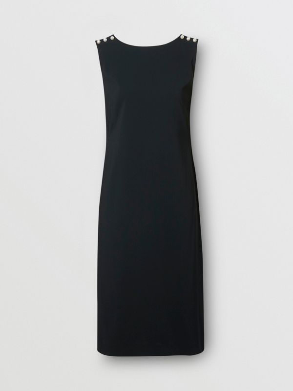 Glass Pearl Detail Satin Crepe Shift Dress in Black - Women | Burberry - cell image 3