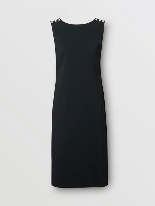 Robe droite en crêpe de satin avec perles de verre (Noir) - Femme | Burberry Canada - cell image 3
