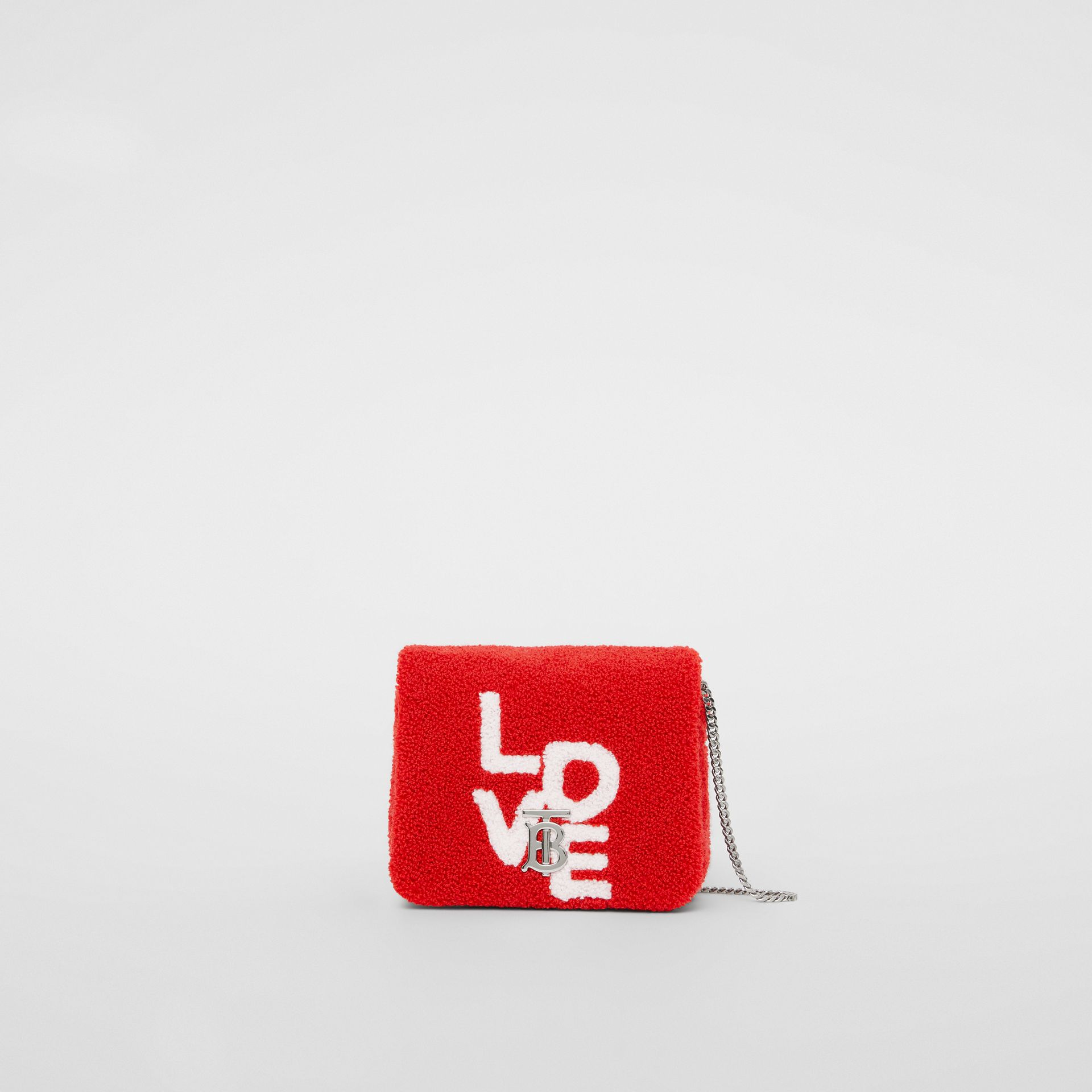Micro Love Motif Towelling Lola Bag in Red/white - Women | Burberry - gallery image 0