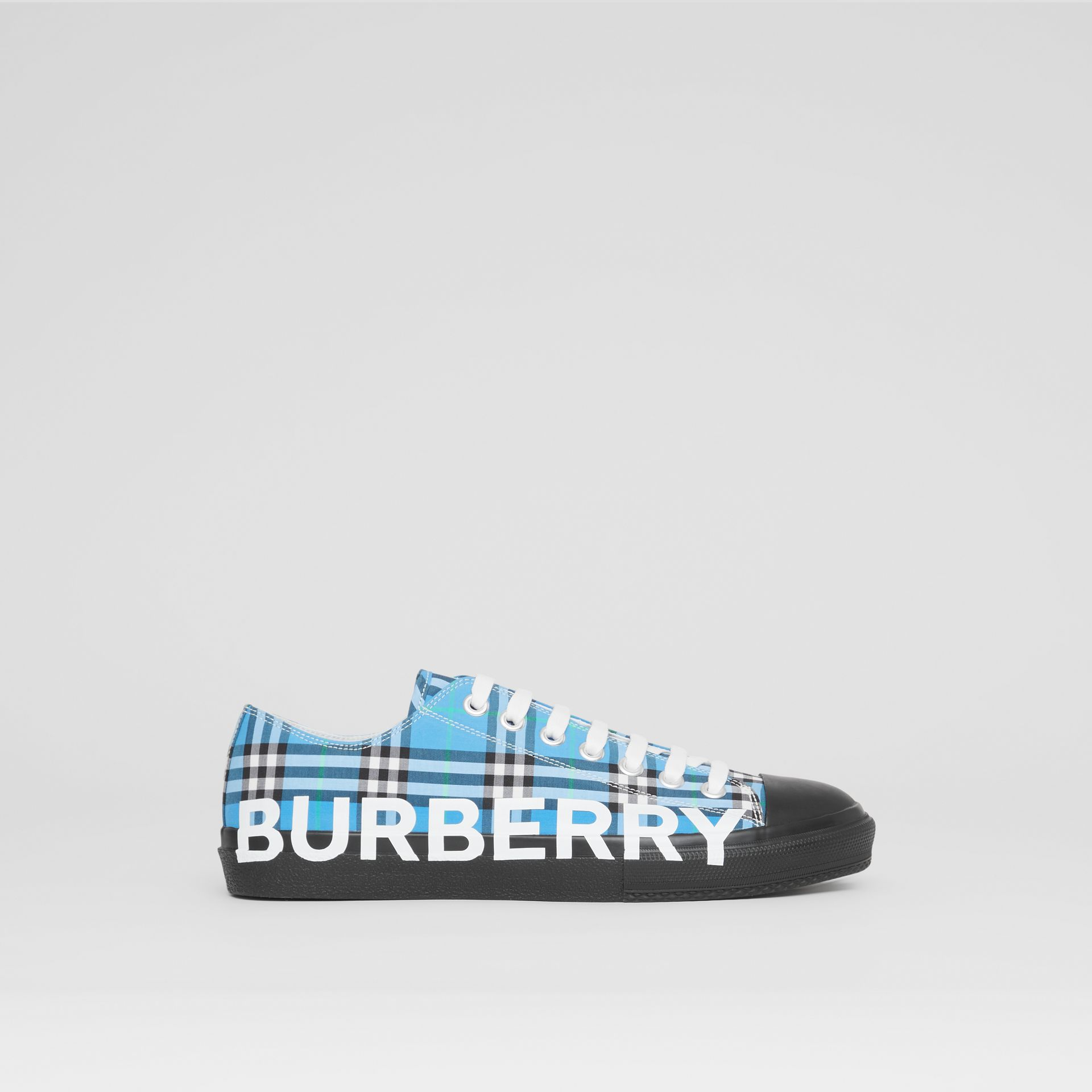 Logo Print Check Cotton Sneakers in Blue Azure - Men | Burberry - gallery image 4