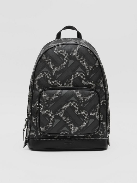 Monogram Print E-canvas Backpack in Graphite
