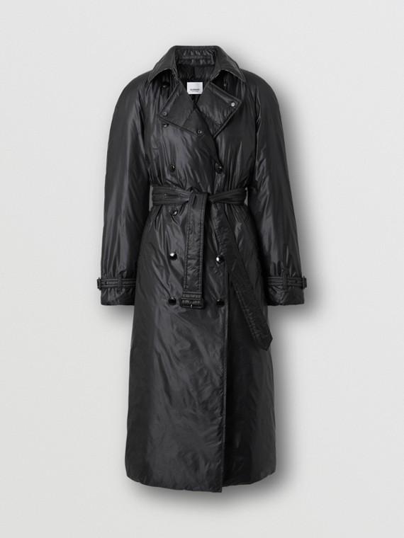 Down-filled Nylon Trench Coat in Black