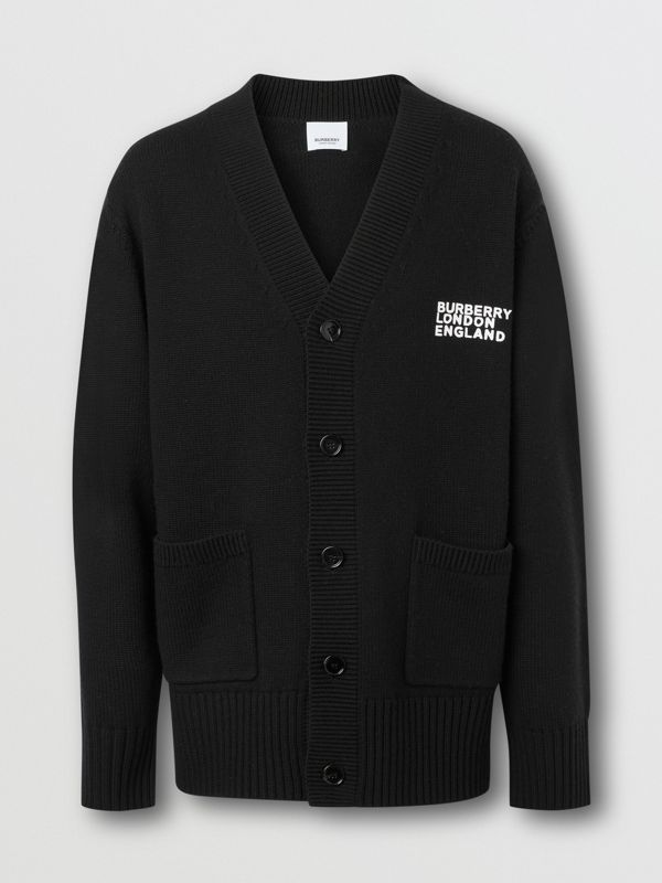 Love Motif Merino Wool Oversized Cardigan in Black - Men | Burberry - cell image 3
